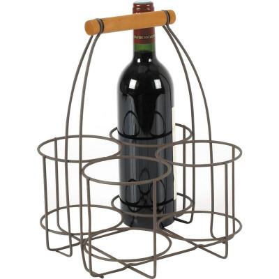 Panier 4 bouteilles métal vieilli  - Paniers & corbeilles