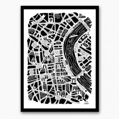 Affiche plan Bordeaux 30X40  - Affiches et cartes